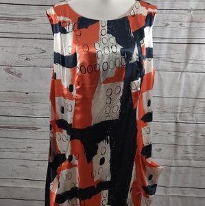 Madison Paige II Orange and Blue Lined Dress